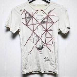 GUESS Men's Vintage Beige Crewneck Tee Shirt XS